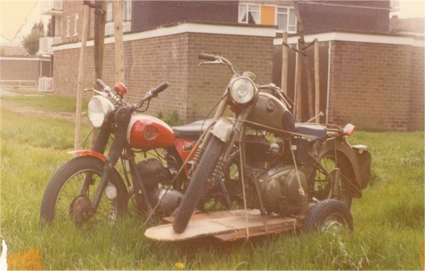 Sat on the Bantam's sidecar, at the rear of the Meadow Avenue flats.